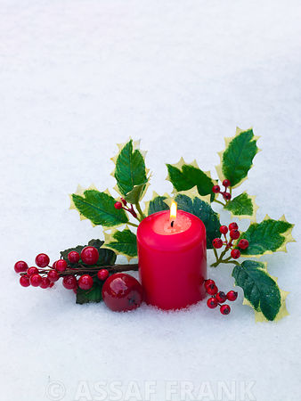 Christmas candles with holly in snow