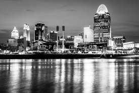 Cincinnati Skyline at Night Black and White Picture