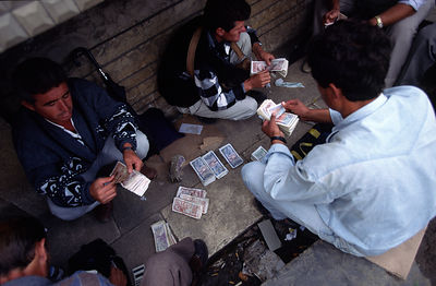 Illegal money changers, Tirana, Albania