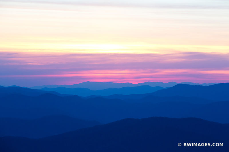 SUNRISE CLINGMANS DOME SMOKY MOUNTAINS RIDGES APPALACHIAN LANDSCAPE