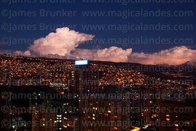 Dramatic storm clouds over mountains at sunset, La Paz, Bolivia