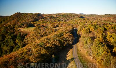 Aerial Blue Ridge Mountains in the fall