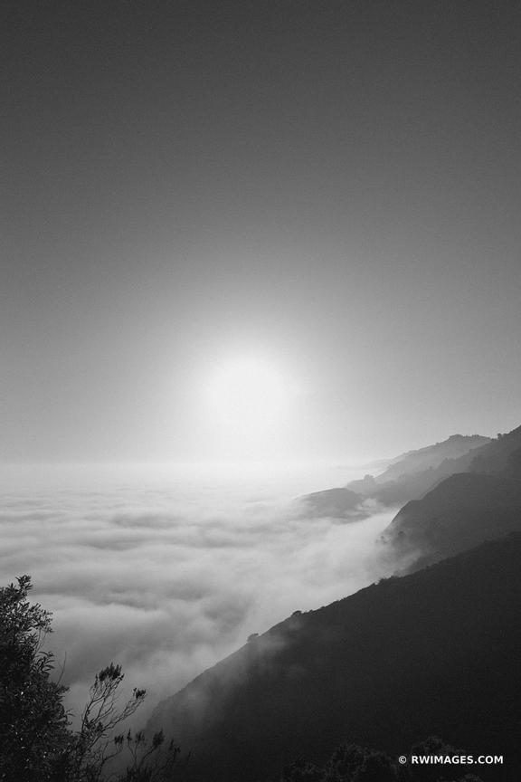 BIG SUR FOGGY PACIFIC COAST CALIFORNIA SUNSET BLACK AND WHITE