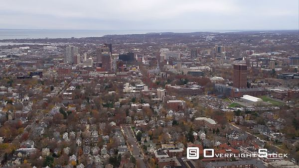 Approaching Downtown New Haven, Connecticut, Looking South. Shot in November
