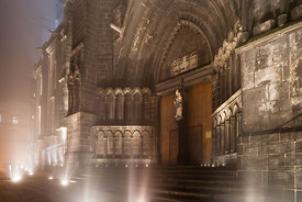 Northern entrey porch of the cathedral in the fog, Clermont Ferrand