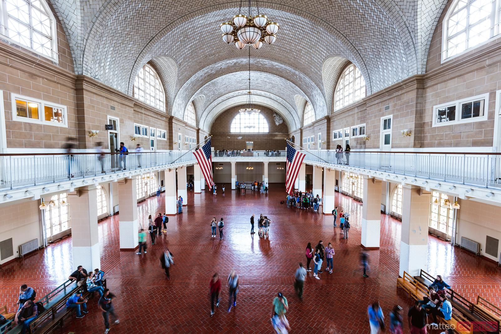 Interior of the Great Hall, Ellis Island, New York city