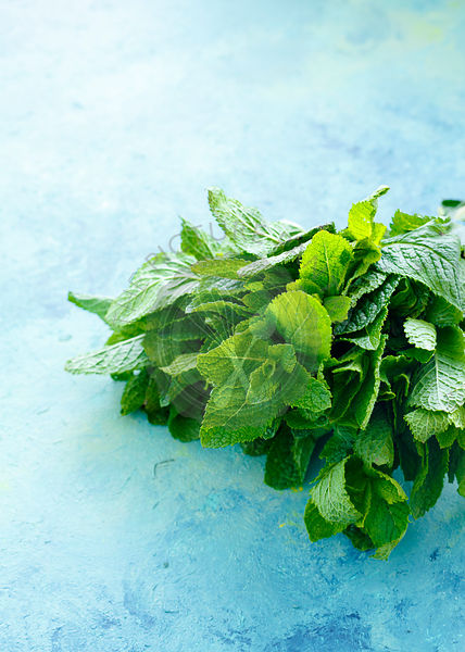 Bunch of Mint leaves on blue- green wooden background
