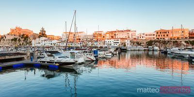 Panoramic of harbor at sunset, Ciutadella, Menorca