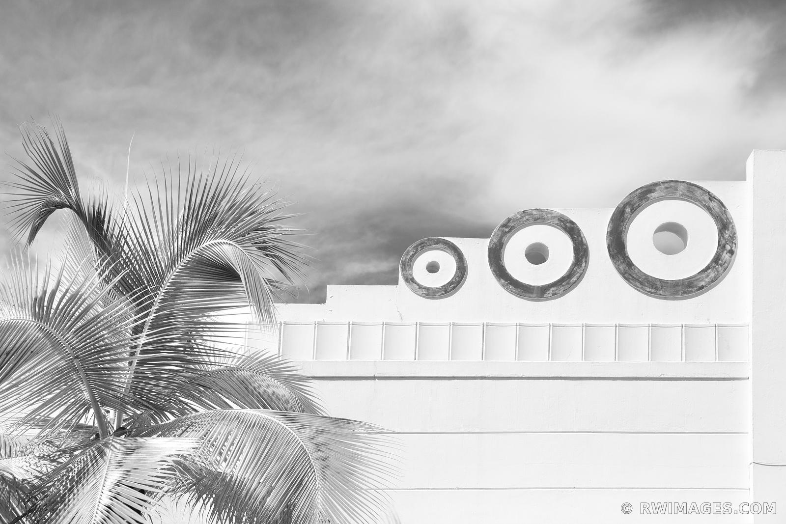 ART DECO ARCHITECTURE MIAMI BEACH FLORIDA BLACK AND WHITE HORIZONTAL