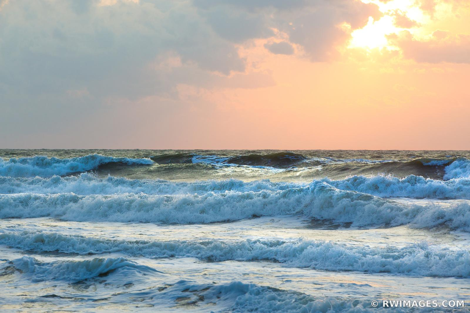 SUNRISE ATLANTIC OCEAN WAVES ASSATEAGUE NATIONAL SEASHORE MARYLAND COLOR