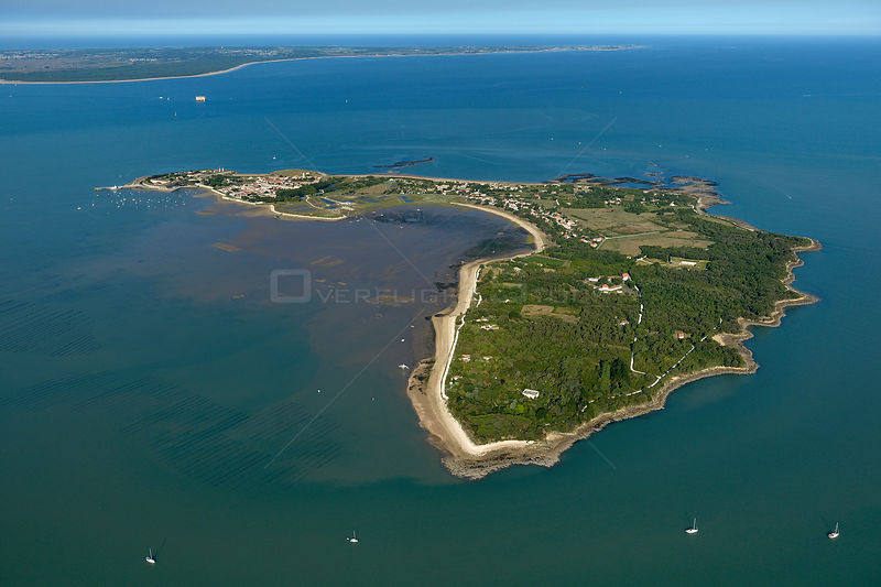 Aerial view of Ile d'Aix, Charente-Maritime on the Atlantic Coast, France. July 2017.