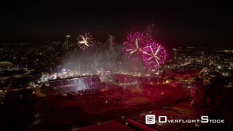 Drone Video of Fireworks at the Calgary Stampede Park with Cityscape and Saddledome Views. Alberta.