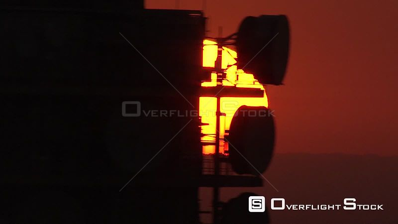Aerial shot of the sun setting behind the Hillbrow Tower Johannesburg Gauteng South Africa