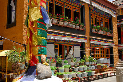 Courtyard of Ani Sanghkhung Nunnery with darchen, or prayer flag pole, mani, or prayer, stone carved with mantra Om Mani Padm...