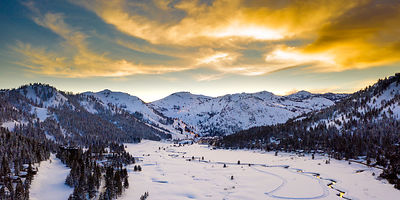 Squaw Valley Sunset. Pano.