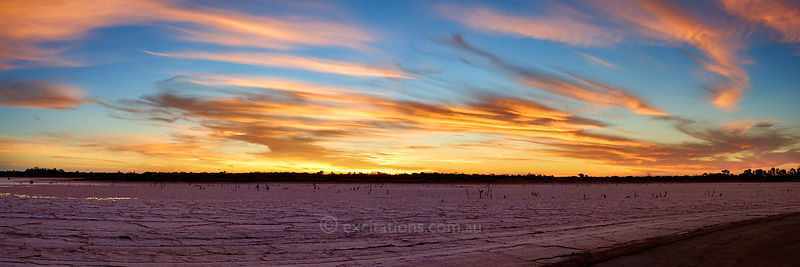 Sunset over salt lake, near Mildura, Australia.