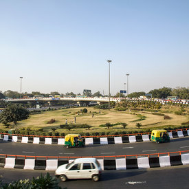 Boys play cricket on a gardened Traffic Island