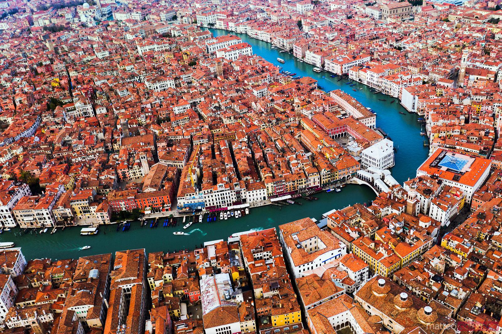 Aerial view of Rialto, Grand Canal, Venice