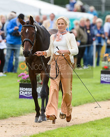 Lissa Green and HOLLYFIELD II at the trot up, Land Rover Burghley Horse Trials 2018