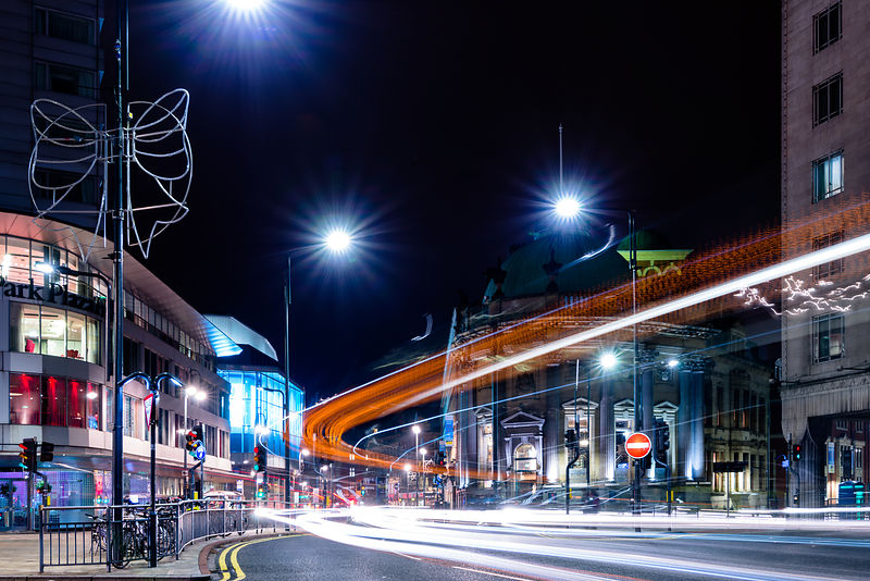 Leeds light trails wall decor