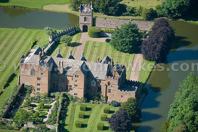 Aerial view of Broughton Castle .Broughton Castle