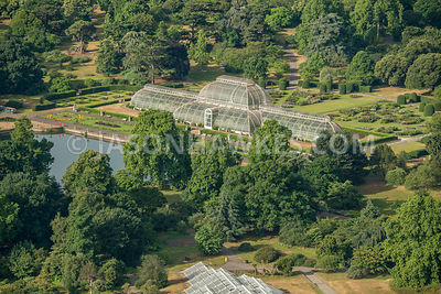 Aerial view of London, Palm House at Kew Gardens.