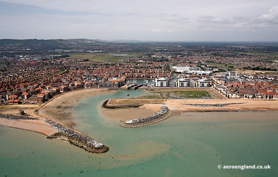 aerial photograph of Sovereign Harbour Marina.Pevensey  Eastbourne, East Sussex BN23 6JH United Kingdom
