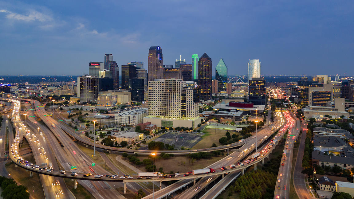Elevated View of the Skyline of Dallas at Dawn