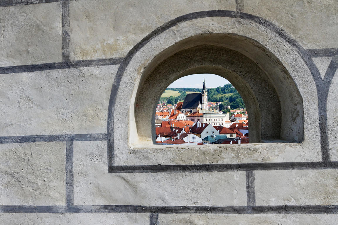 Church of St Vitas Framed through Arch at Cesky Krumlov Castle