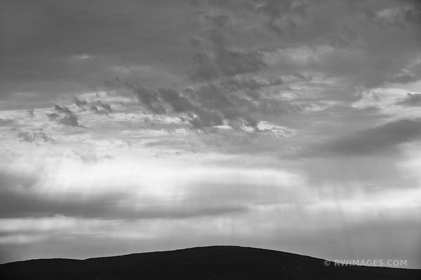 LIGHT SHAFTS AND CLOUDS SCHOODIC PENINSULA ACADIA NATIONAL PARK MAINE BLACK AND WHITE