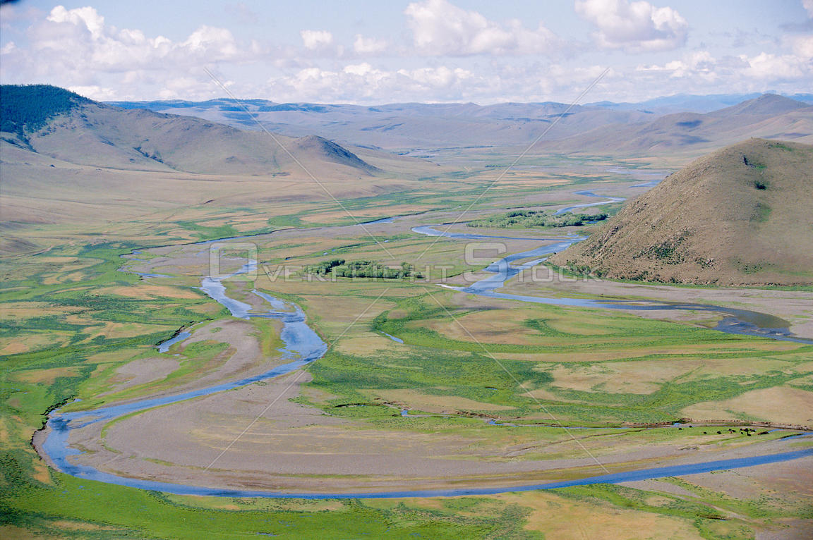 Aerial view of river through Gobi desert, Mongolia