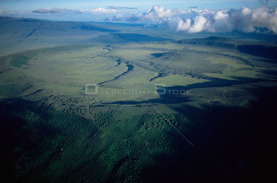 Aerial view of Crater Highlands, Ngorongoro conservation area, Tanzania.