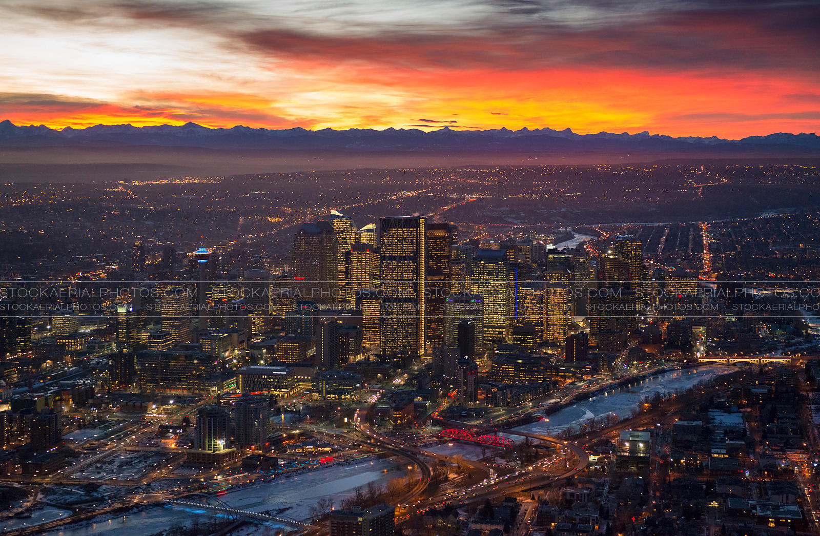Calgary City Skyline at Sunset