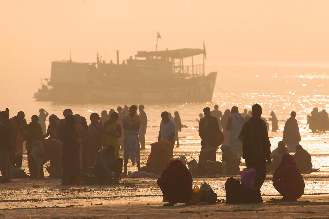 Pilgrims bathe in the Bay of Bengal on Makar Sankranti (Jan. 14) at the Gangasagar Mela, a Hindu pilgrimage to Sagar Island i...