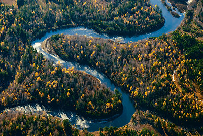 Aerial view of Toysuk river, Siberia, Russia, October 2010.