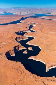 Aerial view of the Colorado River, Lake Powell, Page, Arizona, USA, February 2015. Lake Powell is a reservoir on the Colorado...