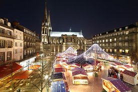 Lights of the Christmas market in front of the cathedral, Clermont Ferrand