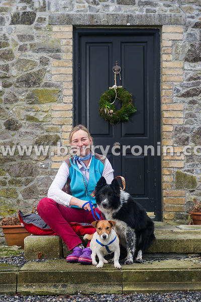 15th January 2016. Margaret Edgilll with Jess the Collie and Jack the terrier on her farm Mount Briscoe, County Offaly.Photo:...