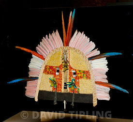 Mask of wood, parrot and flamingo feathers representing spirits of enemies killed in battle worn by the Tapirape people of Br...