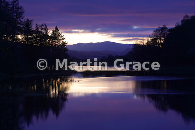 Twilight hour sky over Loch Insh from Kincraig Bridge, Cairngorm National Park, Scotland