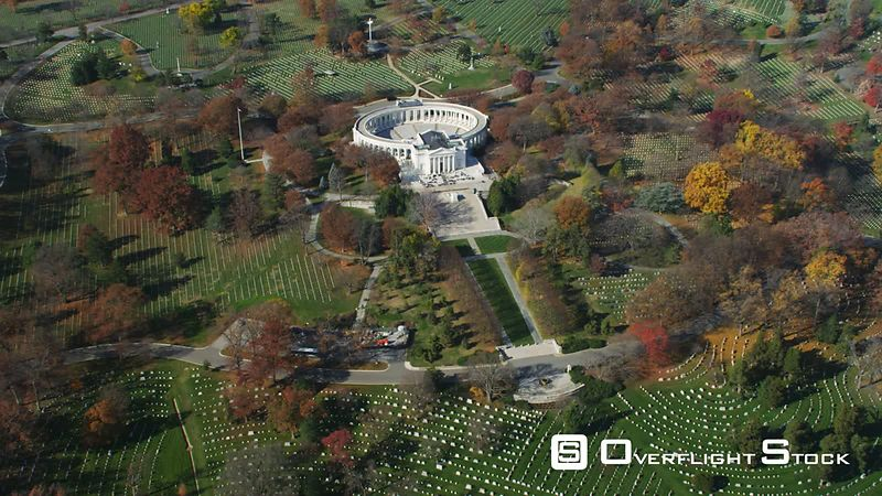 Approaching and flying over Tomb of the Unknowns and Memorial Amphitheater in Arlington National Cemetery.