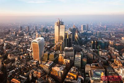 Aerial view of the City of London at sunset, England