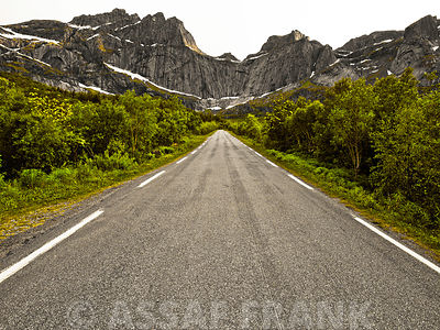 Scenic road on Lofoten islands in Norway