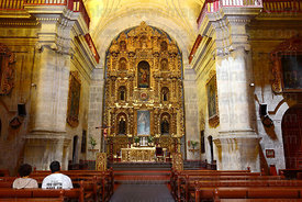 Altar screen and interior of La Compañia de Jesus church , Arequipa , Peru