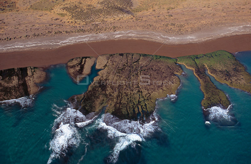 Aerial view of the coast of Patagonia showing Orca in channel along beach, Valdes peninsula, Patagonia, Argentina, october 2003