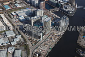 Manchester aerial photograph of Salford Quays and the BBC Media Manchester Manchester high level view of Salford Quays and th...