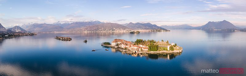 Panoramic sunset over Borromean islands, Lake Maggiore, Italy