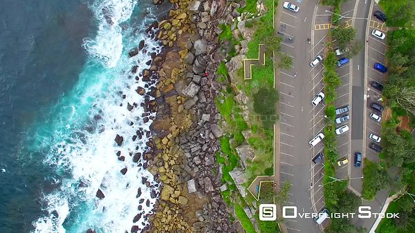 Aerial view of Shelly Beach coast near Sydney  Australia