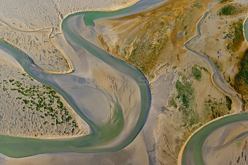 Aerial view of the Bay of Somme, Picardie, France, July.