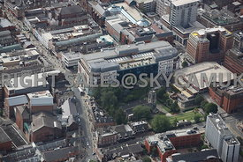 Leeds aerial photograph of St Johns the Evangelist Church Mark Lane and Broadgate Shopping Centre the Headrow